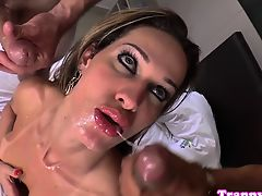 Pulled latina tgirl jizzed in bareback trio