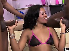 Cute ebony babe loves their big dicks