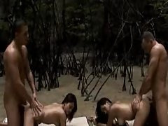 Two Thai Girls Banged By 2 Beach Tourists