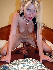 White chick takes on a timid black man in a hotel room
