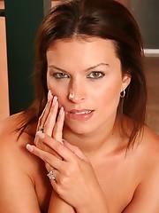 Cute brunette spreading her pussy lips wide open