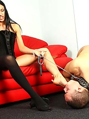 Gorgeous brunette spits into slave's face and then orders him to suck her feet