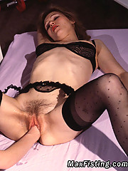 Kinky lesbian with bound titties getting toyed and fisted