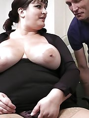 Fattie in stockings boned in office