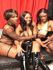 three black girls in lesbian action in sofa