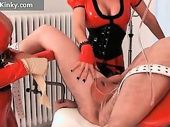 Two busty big boobed latex horny milf