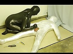 plastic wrap bondage and fucked