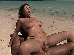 Busty brunette whore goes crazy riding