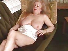 Hairy granny masturbates