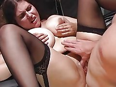 British Busty MILF gets fucked in black stockings