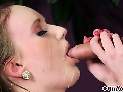 Wicked peach gets cum shot on her face swallowing all the lo