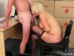 Wacky looker gets jizz load on her face swallowing all the c