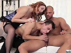 Eva Bergers threesome with her bisexual bf and stepdad